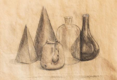 lurid: still life drawing. Original hand draw on paper