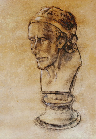 bust: Hand drawn head, Illustration half face. Gypsum bust drawn in pencil. Profile portrait. Bust of Voltaire by Houdon