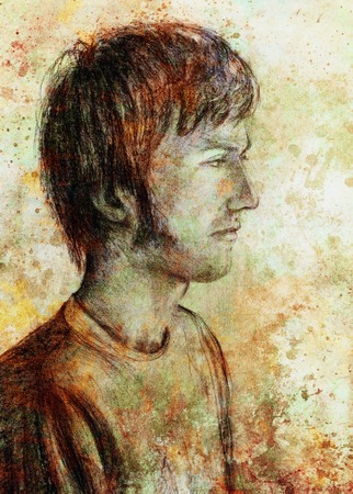 pensive: art drawing man face and sepia background