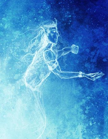 gronostaj: Drawing of elf King, pencil sketch on paper, blue vinter effect
