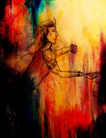 gronostaj: Rysunek elf King, szkic ołówkiem na papierze, sepii i rocznika efekt Zdjęcie Seryjne