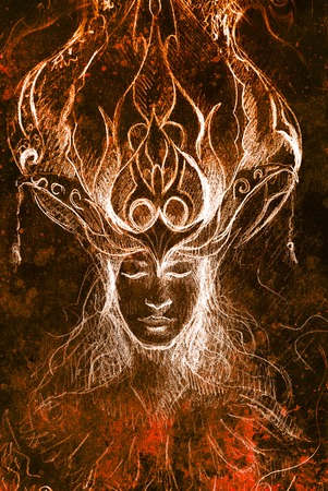 gronostaj: man and ornamental crown, pencil sketch on paper, sepia and vintage effect