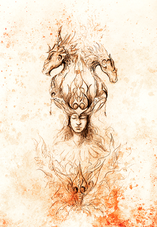 conceiving: Man in mystic fire and ornamental dragons, pencil sketch on paper, sepia and vintage effect Stock Photo