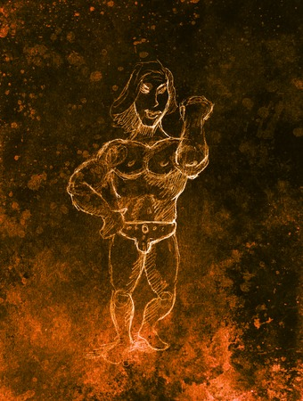 masculine: Funny Bodybuilder, pencil sketch on paper, sepia and vintage effect Stock Photo