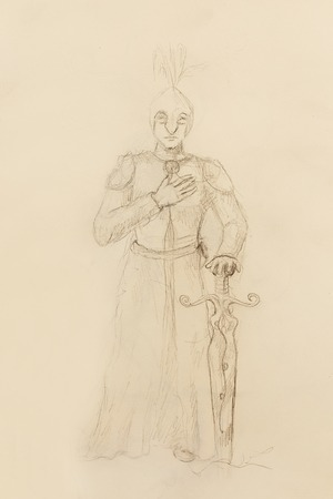 gronostaj: Drawing of knight with sword, pencil sketch on paper