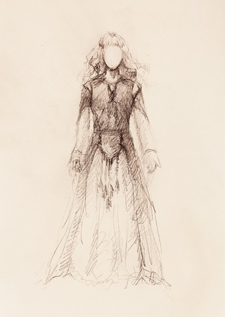 middle age women: woman drawing in ornamental dress, pencil sketch on paper, sepia and vintage effect
