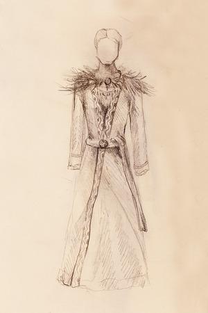gronostaj: Man drawing in ornamental dress, pencil sketch on paper