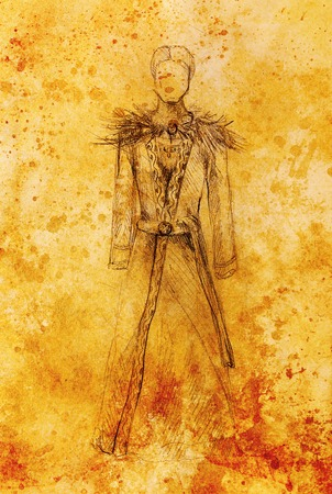gronostaj: Man drawing in ornamental dress, pencil sketch on paper, sepia and vintage effect