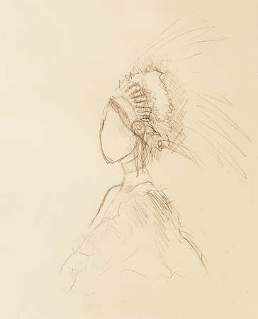 hair feathers: pencil drawing on paper, indian woman  and feathers in hair