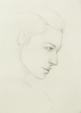 ethnology: art drawing beautiful girl face on paper Stock Photo