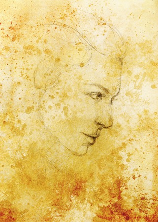 ethnology: art drawing beautiful girl face and sepia background