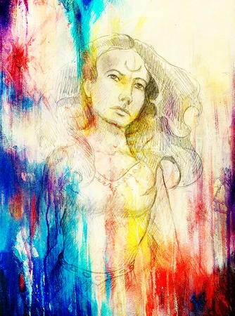 ethnology: mystic woman. pencil drawing on paper, Color effect