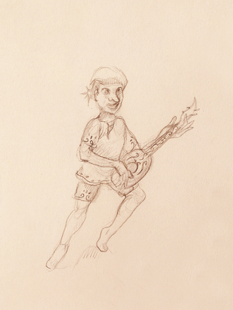lute: Man (Dwarf) plaing lute. pencil sketch on paper. Original hand draw Stock Photo