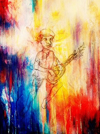 bard: Man (Dwarf) plaing lute. pencil sketch on paper, Color effect. Original hand draw Stock Photo