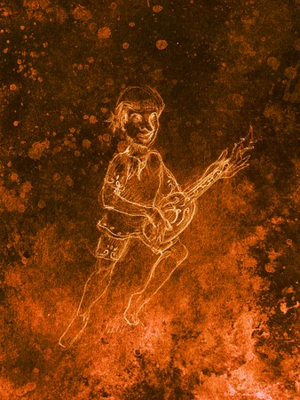 wanderer: Man (Dwarf) plaing lute. pencil sketch on paper, Color effect. Original hand draw Stock Photo