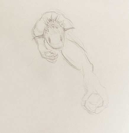 draw a sketch: Monster drawing. pencil sketch on paper, Original hand draw