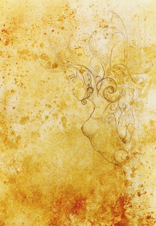 muse: Mystical Woman goddess pillar statue with beautiful ornament. Original hand draw