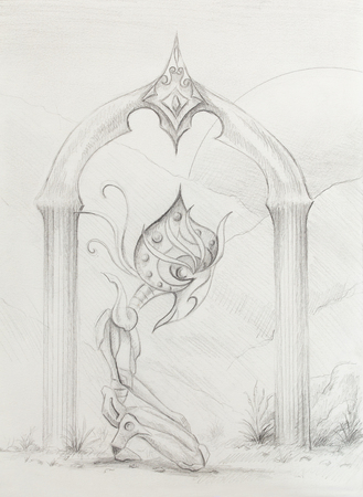 moon gate: space creature kneeling at sacred gate with crystal, original drawing on paper. transience and time concept Stock Photo