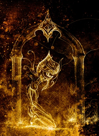 horus: antiguo dios Horus, dibujo original. fugacidad y el concepto de tiempo. color de la sepia Foto de archivo