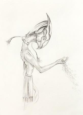 horus: Egipcia de arena asimiento Horus, dibujo en el papel. fugacidad y el concepto de tiempo