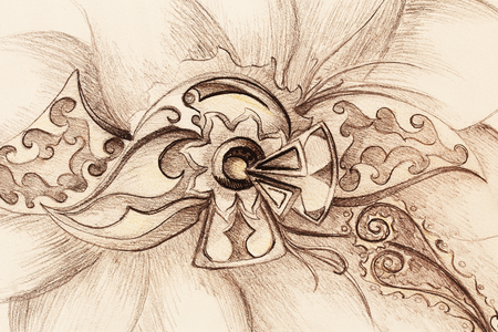 flower structure: Color drawing of ornamental flower structure. Original hand drawn on paper Stock Photo