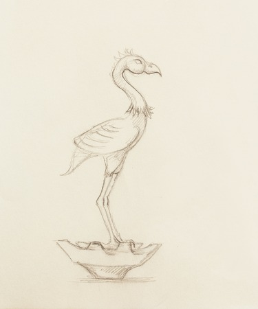 paper sculpture: flamingo illustration. original hand drawing on paper