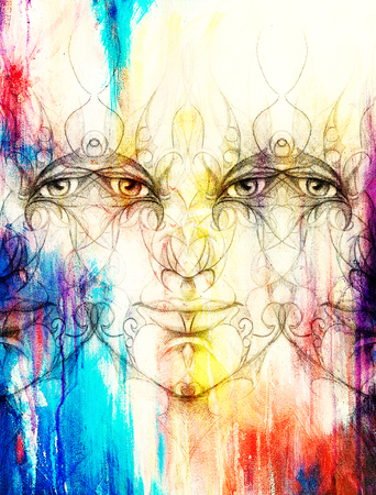 eye contact: mystic man face with floral ornament. Drawing on paper, Color effect. Eye contact