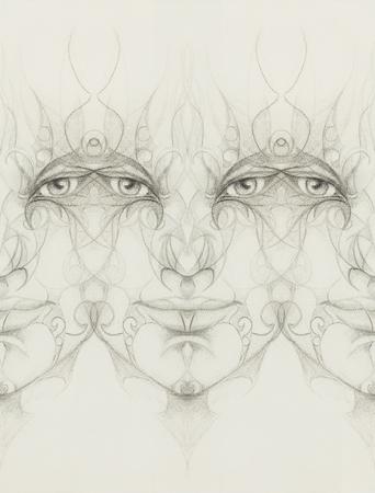ser humano: la cara del hombre mística con el ornamento floral. Dibujo sobre papel, Contacto con los ojos