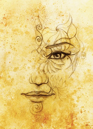 mystic: mystic woman face with floral ornament. Drawing on paper, Color effect. Eye contact