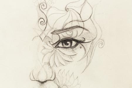 visage de femme mystique avec ornement floral. Dessin sur papier, contact avec les yeux Banque d'images