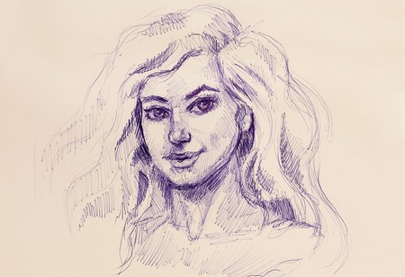 woman pen drawing on old paper, eye contact