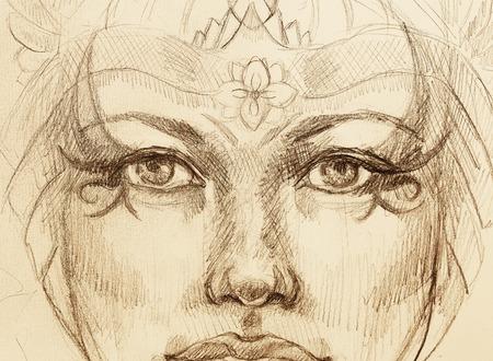 mystique femme dessin avec ornement, contact avec les yeux