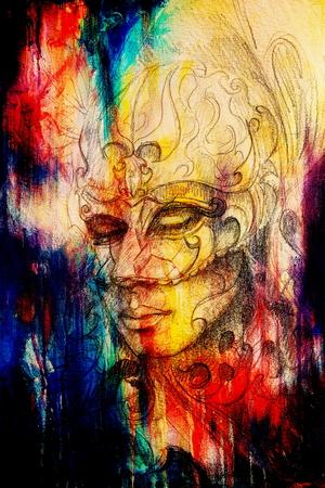 paper mask: pencil drawing on paper, woman in ornamental venetian mask