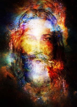 radiant light: Jesus Christ painting with radiant colorful energy of light in cosmic space, eye contact Stock Photo