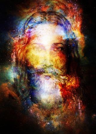 Jesus Christus Malerei mit strahlend bunten Energie des Lichts in den kosmischen Raum, Blickkontakt