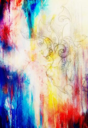 mystical woman: Mystical Woman goddess pillar statue with beautiful ornament. Original hand draw