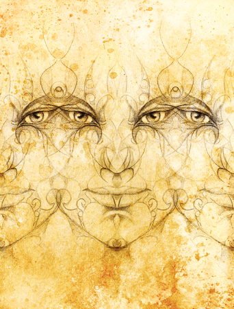 battle evil: mystic man face with floral ornament. Drawing on paper, Color effect. Eye contact