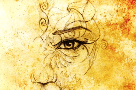 conceiving: mystic woman face with floral ornament. Drawing on paper, Color effect. Eye contact