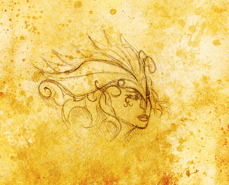 headband: mystic woman face and headband. pencil drawing on paper, Color effect