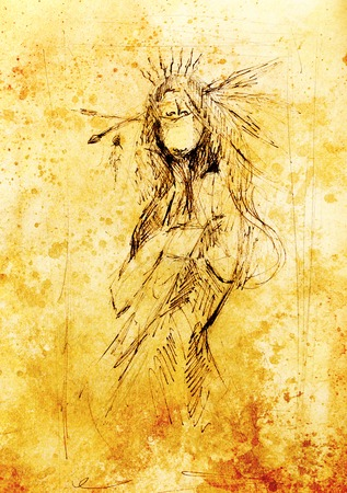 hair feathers: pencil drawing on paper, indian woman  and feathers in hair. Color effect
