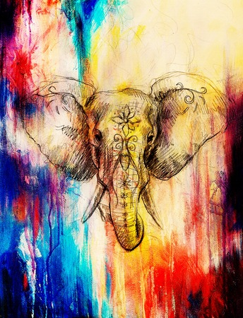 Elephant with floral ornament, pencil drawing on paper. Color effect and Computer collage Archivio Fotografico
