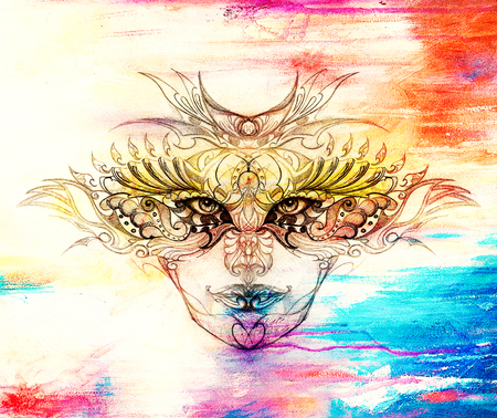 mysterious: mystic woman face with floral ornament. Drawing on paper, Color effect. Eye contact