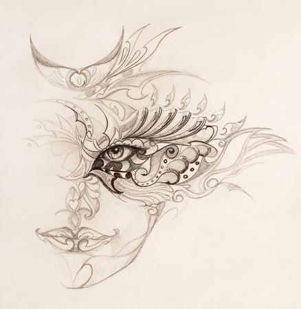 mystische Frau das Gesicht mit floralen Ornament. Zeichnung auf Papier, Farbe Effekt. Blickkontakt Standard-Bild