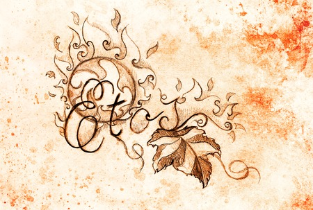 grapevine: grapevine leaves and text and ornament with fire flames. Drawing on paper
