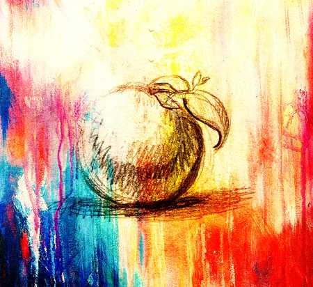 aple: Color drawing of Fruit. Original hand draw and computer collage. Color structure