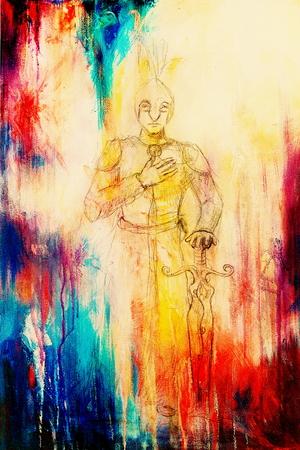 gronostaj: Rysunek rycerza z mieczem, szkic ołówkiem na papierze, sepii i rocznika efekt
