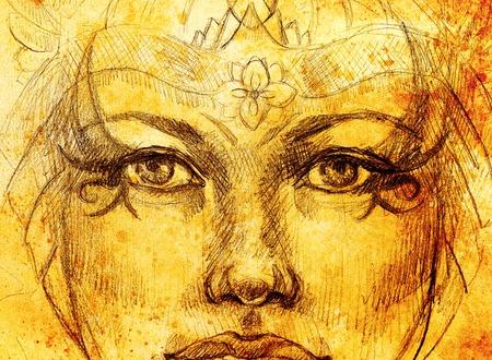 mystische Frau, die mit Verzierung, Blickkontakt zeichnet. Sepia Farbe und Computercollage