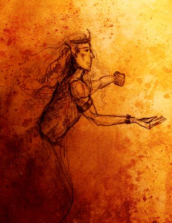 gronostaj: Drawing of elf King, pencil sketch on paper, sepia and vintage effect Zdjęcie Seryjne