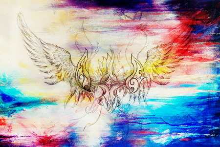 psyche: drawing of ornamental phoenix on old paper background computer collage. and color structure