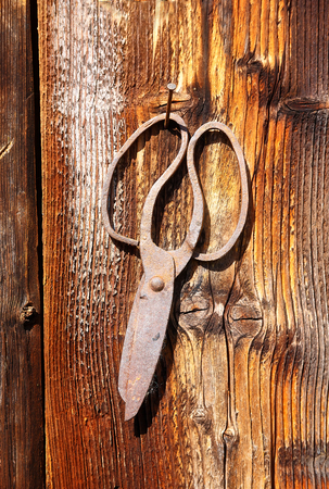 assemblage: antique old style retro object assemblage on a wooden wall. scissors Stock Photo